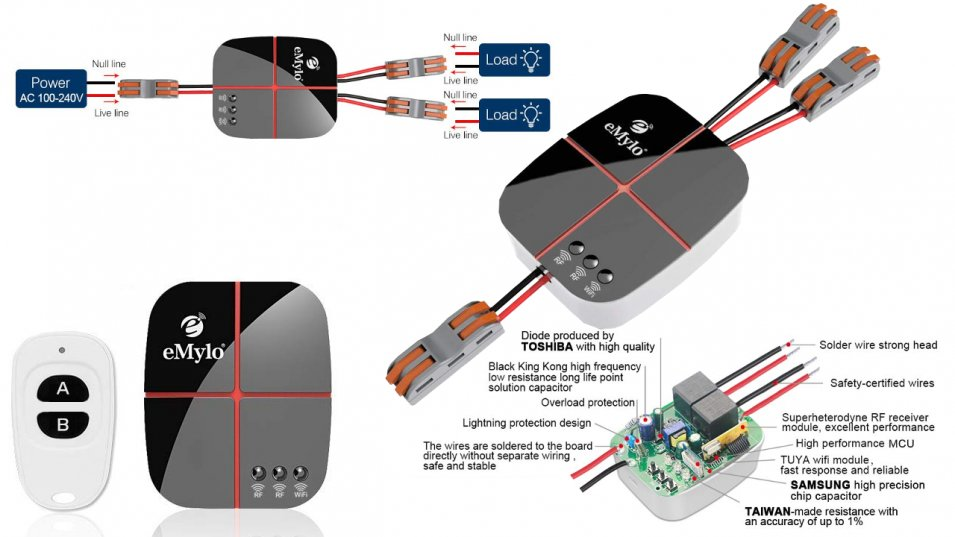 Nuovi Smart Switch WiFi e RF 433 MHz by eMylo