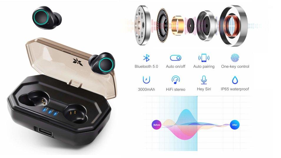 Axloie Auricolari Bluetooth 5.0 TWS con Custodia da Ricarica 3000mAh