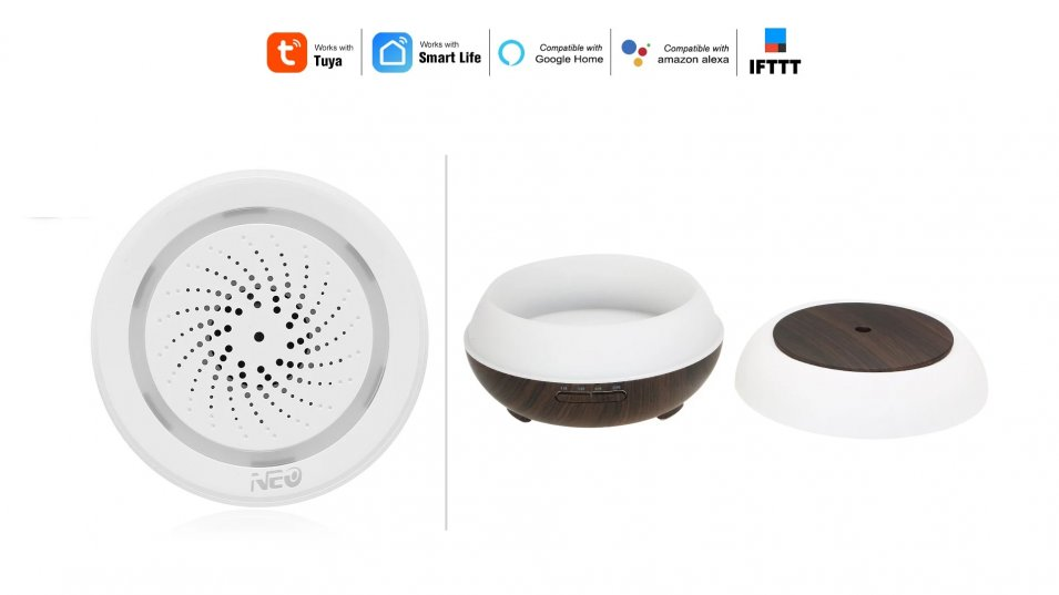 Sirena Allarme WiFi e LED Lamp Oil Diffuser - L'infinito mondo Tuya Smart