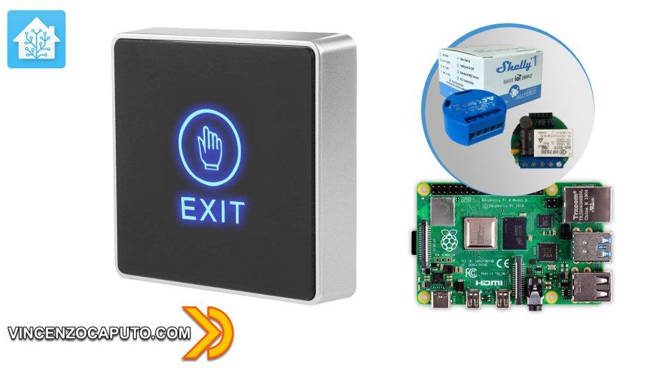 Pulsante 12v monitorato con Shelly 1 e Raspberry tramite Home Assistant