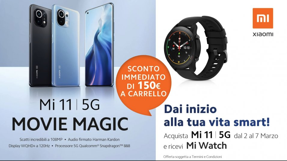 Omaggio Mi Watch con l'acquisto di Xiaomi MI 11