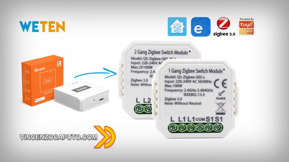 Attuatore ZigBee senza neutro compatibile con Sonoff Zigbee Bridge ed Home Assistant